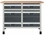 """Töölaud """"töökõrgus 860 mm, lauaplaat 1130 x 650 mm 4 sahtlit suuruses M, 2 sahtlit suuruses L"""""""