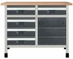 """Töölaud """"töökõrgus 860 mm, lauaplaat 1130 x 650 mm 5 sahtlit suuruses M, 1 kapimoodul"""""""