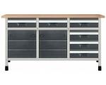 """Töölaud """"töökõrgus 860 mm, lauaplaat 1610 x 650 mm 6 sahtlit suuruses M, 2 kapimoodulit"""""""