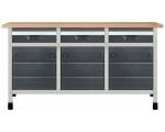 """Töölaud """"töökõrgus 860 mm, lauaplaat 1610 x 650 mm 3 sahtlit suuruses M, 3 kapimoodulit"""""""